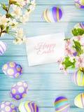 在一个木背景的复活节彩蛋 10 eps 库存图片