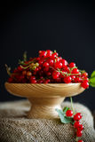 在一个木花瓶的成熟红浆果 图库摄影