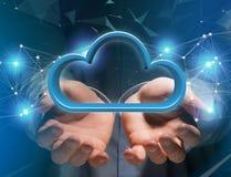 在一个未来派接口显示的蓝色云彩- 3d翻译 免版税库存图片