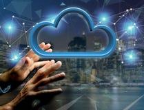 在一个未来派接口显示的蓝色云彩- 3d翻译 免版税图库摄影