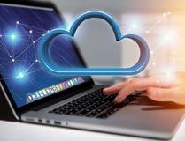 在一个未来派接口显示的蓝色云彩- 3d翻译 库存照片