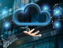 在一个未来派接口显示的蓝色云彩- 3d翻译 库存图片