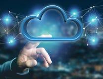 在一个未来派接口显示的蓝色云彩- 3d翻译 免版税库存照片