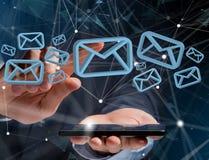 在一个未来派接口显示的蓝色电子邮件标志-消息 库存图片