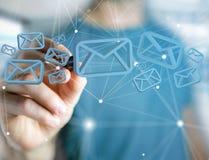 在一个未来派接口显示的蓝色电子邮件标志-消息 免版税库存照片