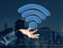 在一个未来派接口显示的Wifi标志-连接和 库存图片