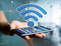 在一个未来派接口显示的Wifi标志-连接和 免版税图库摄影