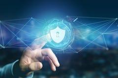 在一个未来派接口的安全保障象 免版税库存照片
