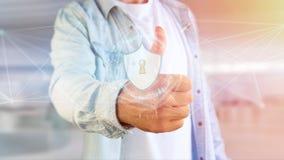 在一个未来派接口的安全保障象 免版税图库摄影