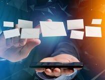 在一个未来派电子邮件接口显示的信封消息- 3d 库存照片
