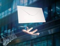 在一个未来派电子邮件接口显示的信封消息- 3d 免版税库存照片