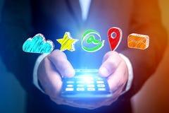 在一个未来派接口的手拉的企业成套工具appalication - 免版税库存照片