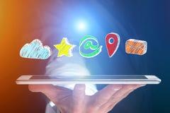 在一个未来派接口的手拉的企业成套工具appalication - 图库摄影