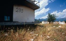 在一个村庄的废墟在科索沃。 图库摄影