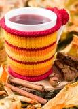 在一个杯子的果子茶在被编织的盖子 库存图片