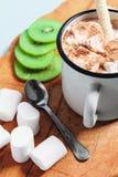在一个杯子的热的可可粉用蛋白软糖和桂香 库存照片