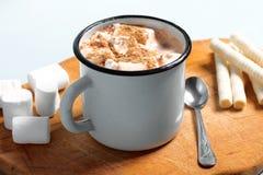在一个杯子的热的可可粉用蛋白软糖和桂香 免版税库存照片