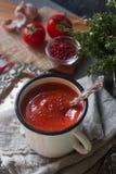 在一个杯子的自创有机蕃茄汤用新鲜的草本、大蒜、红辣椒和喜马拉雅盐在葡萄酒盘子 免版税图库摄影
