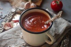 在一个杯子的自创有机蕃茄汤用新鲜的草本、大蒜、红辣椒和喜马拉雅盐在葡萄酒盘子 库存图片