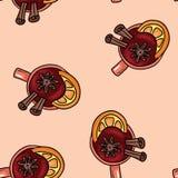 在一个杯子的鲜美加香料的热葡萄酒饮料有桂香和柑橘逗人喜爱的动画片无缝的样式的 库存例证