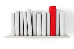 在一个架子的红色书与另一本空白的书 库存照片