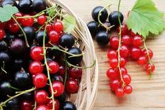 在一个柳条木篮子的红浆果 库存照片