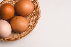 在一个柳条棕色篮子的色的鸡鸡蛋 库存照片