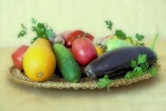 在一个柳条盘的各种各样的菜在桌上 免版税库存照片
