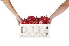 在一个柳条筐的红色甜椒 图库摄影