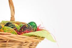 在一个柳条筐的被绘的鸡蛋 2个所有时段小鸡概念复活节彩蛋开花草被绘的被安置的年轻人 免版税图库摄影