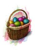在一个柳条筐,剪影的五颜六色的被绘的复活节彩蛋 皇族释放例证