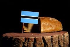 在一个树桩的博茨瓦纳旗子用面包 库存图片