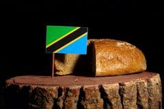 在一个树桩的坦桑尼亚的旗子用面包 免版税图库摄影