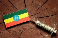 在一个树桩的埃赛俄比亚的旗子与注射金钱的注射器 库存照片