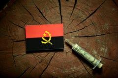 在一个树桩的安哥拉旗子与注射金钱的注射器 免版税图库摄影