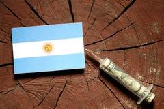 在一个树桩的阿根廷旗子与注射金钱的注射器 库存照片