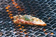 在一个格栅的烤鸡内圆角用香料和草本 在火焰状格栅的用卤汁泡的鸡胸脯与菜 健康的食物 库存图片