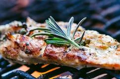 在一个格栅的烤鸡内圆角用香料和草本 在火焰状格栅的用卤汁泡的鸡胸脯与菜 健康的食物 库存照片