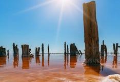 在一个桃红色盐湖,桃红色盐的提取的一个前矿的日落 木钉行长满与盐 免版税库存图片