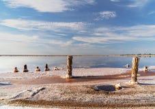 在一个桃红色盐湖,桃红色盐的提取的一个前矿的日落 木钉行长满与盐 免版税图库摄影