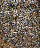 在一个棕色地板上驱散的难题 免版税图库摄影