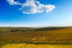 在一个棕色领域的云彩 库存图片