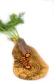 在一个橄榄色的委员会的一棵黑红萝卜 库存照片