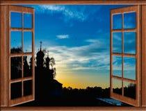 在一个正统寺庙的看法有窗口圆顶的 免版税图库摄影