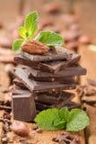 在一个残破的黑暗的巧克力块的可可子 库存图片