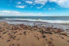 在一个沙滩的湿,五颜六色的小卵石 库存图片
