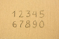 在一个沙滩写的数字 库存照片