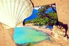在一个沙滩的明信片 免版税库存照片