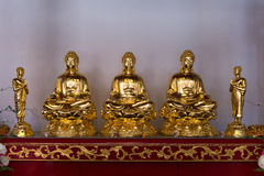 在一个法坛的五个金雕塑在小行政区寺庙 库存图片