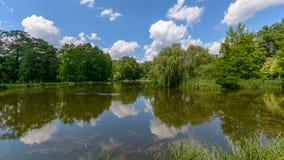 在一个波兰Summer湖反映的云彩 免版税库存照片